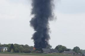 Grote brand in loods in Sint Hubert